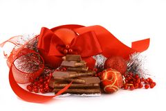 Presente do chocolate do Xmas imagem de stock royalty free