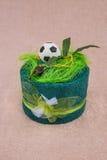 Presente do futebol de toalha imagens de stock royalty free