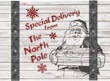 Presente do Natal da entrega especial de Handdrawing Santa Foto de Stock Royalty Free