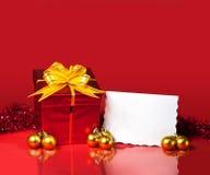 Presente do Natal e cartão em branco Imagens de Stock Royalty Free