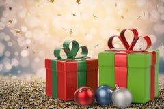 Presente do Natal e ornamento do Natal Fotografia de Stock