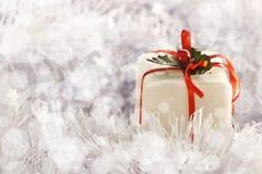 Presente do Natal em congelar o fundo frio do inverno fotos de stock royalty free