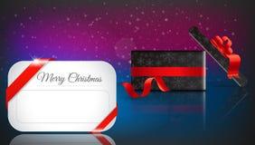 Presente do Natal no fundo vermelho com neve e flocos de neve alegre Fotografia de Stock Royalty Free