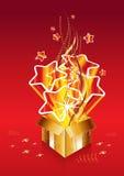Presente dourado da surpresa do Natal ilustração royalty free