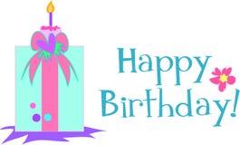 Presente e candela di buon compleanno Fotografie Stock Libere da Diritti