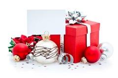 Presente e cartão de Natal Imagens de Stock Royalty Free