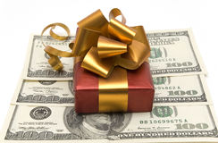 Presente e dinheiro Fotografia de Stock