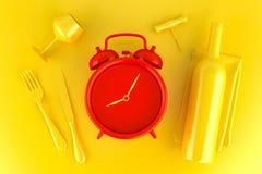 Presente el ajuste con la botella roja del despertador, del vidrio y de vino Imagen de archivo libre de regalías
