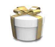 Presente envolvido do branco e do ouro (3D) Imagem de Stock Royalty Free