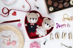 Presente feliz do aniversário: o urso de peluche dos noivos faz crochê d imagem de stock