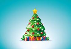 Presente intorno all'albero di Natale Fotografia Stock Libera da Diritti