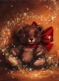 Presente mágico del oso de Tedy de la Navidad Imágenes de archivo libres de regalías