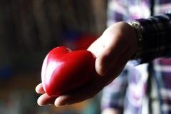 Presente masculino do coração do Valentim da mão Imagem de Stock