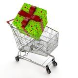 Presente no carro de compra Imagens de Stock