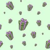 Presente para Valentine Day Seaml dibujado mano del vector stock de ilustración