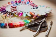 Presente por completo de los utensilios de la manicura, herramientas de la manicura, colores del esmalte de uñas en la paleta Cla Imagenes de archivo