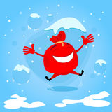 Presente rojo de Santa Bag Cartoon Character Christmas Fotografía de archivo