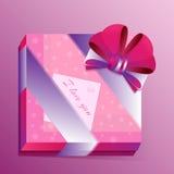 Presente romântico do vetor com um cartão Fotos de Stock