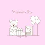 Presente rosa Toy Bear di forma del cuore di amore di Valentine Day Gift Card Holiday Immagini Stock Libere da Diritti