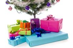 Presente sotto l'albero di Natale Immagini Stock