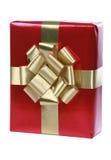 Presente vermelho com fitas do ouro Foto de Stock