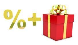 Presente vermelho com por cento do símbolo Fotografia de Stock Royalty Free