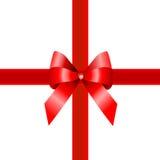 Presente vermelho, fita Imagens de Stock Royalty Free