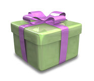 Presente violeta verde envolvido 3D Fotografia de Stock