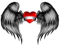 Presented Heart. A heart with a wrapping ribbon and feathered wings Royalty Free Stock Images