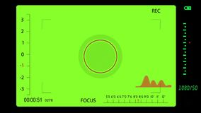 Camera viewfinder while shooting on a green background