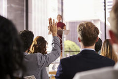 Free Presenter At Business Seminar Takes A Question From Audience Royalty Free Stock Photo - 85212595