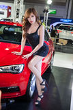 Presenter. BANGKOK - AUGUST 16 :An unidentified female presenter models at AUDI booth at Big Motor Sale 2014 on June 16,2014 in BITEC ,Bangkok, Thailand royalty free stock images