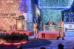 The presenter gives a speech at a commemorative ceremony in theThe presenter gives a speech at a commemorative ceremony in the Mem. Nahariyya, Israel, April 17 royalty free stock image