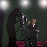 Presenter and Studio Lights Stock Images