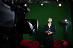 Presenter in TV Studio Royalty Free Stock Images
