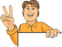 Presenter waving peace sign. An illustrated view of a man holding a white presentation board in one hand and waving a peace sign with his other hand Vector Illustration