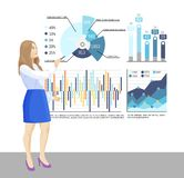 Presenter with Whiteboard and Infographics Charts. Presenter with whiteboard, infographics charts vector. Text sample explanation, flowcharts material of seminar stock illustration