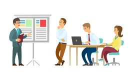 Presenter and Whiteboard Workers Listening to Boss. Boss giving presentation on whiteboard vector, business plan conference. Presenter with information, seminar stock illustration