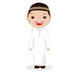 Presentera en pojke som bär muslimska kläder arkivbilder