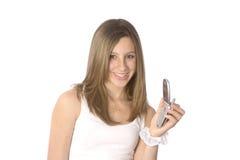presentera för telefon som är teen Royaltyfria Foton
