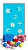 presenterar snowflakesfönstret Arkivbilder