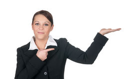 presenterat lyckligt för affärskvinnor royaltyfri bild