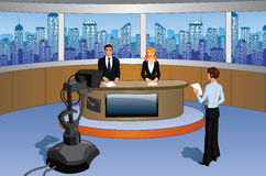 Presenters in a newsroom. Cartoon illustration of media newsroom presenters in a studio with a cameraman Royalty Free Stock Image