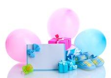 Presentes bonitos, bootees do bebê Imagem de Stock Royalty Free