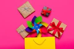 Presentes, brinquedo e sacos Fotos de Stock Royalty Free