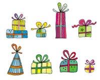 Presentes coloridos del día de fiesta Imágenes de archivo libres de regalías