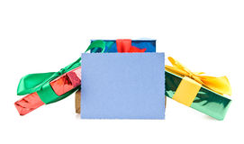 Presentes com um cartão imagem de stock royalty free