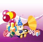 Presentes, cumpleaños, día de fiesta Ilustración del Vector
