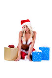 Presentes da mulher de Santa do Natal Imagem de Stock Royalty Free