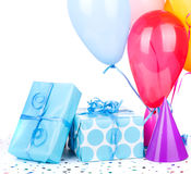 Presentes de aniversário azuis Foto de Stock Royalty Free
